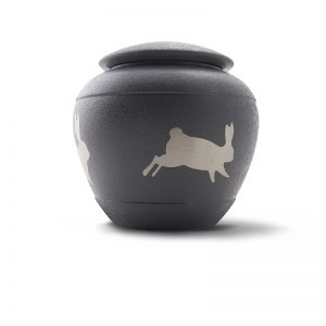 slate metal bunny pet urn side view