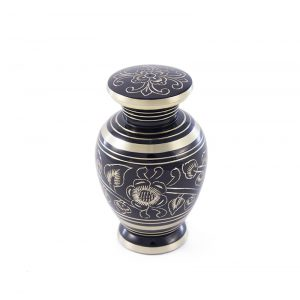 black and brass flower embellished keepsake pet urn