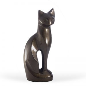 mocha brown regal slim cat glass ceramic pet urn