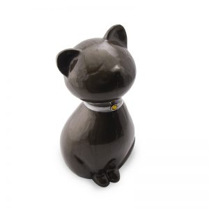 mocha brown sleeping cat glass ceramic pet urn