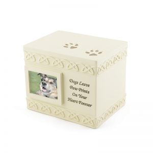 dogs leave paw prints on your heart forever serenity heart composite dog photo pet urn top view