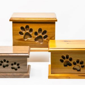 Local Wood Paw Print Inlay Urns many sizes and styles